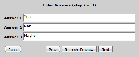 Type in the vote answers