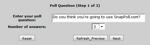 Add the question and vote answers