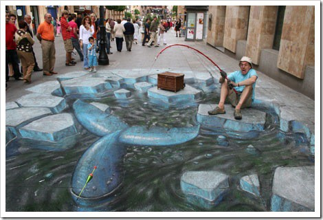 3D Chalk Drawings by Julian Beever - Fishing