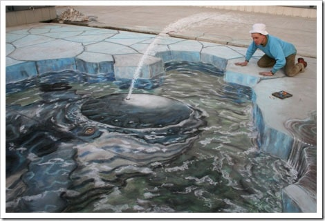 3D Chalk Drawings by Julian Beever - water fountain