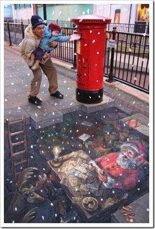 3D Chalk Drawings by Julian Beever - christmas