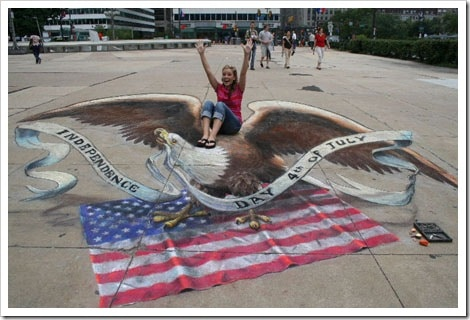 3D Chalk Drawings by Julian Beever - independence day