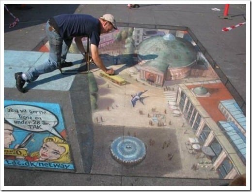 3D Chalk Drawings by Julian Beever - bird view