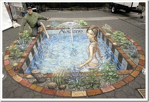 3D Chalk Drawings by Julian Beever - pond