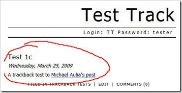trackback test result