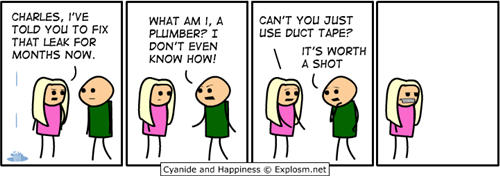 Cyanide and Happiness comic strips - duct tape joke
