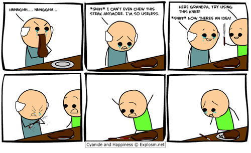 Cyanide and Happiness comic strips - grandpa joke