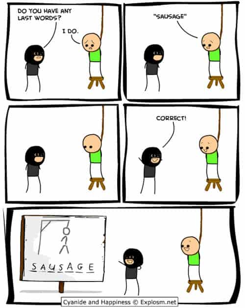 Cyanide and Happiness comic strips - hangman joke