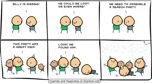 Cyanide and Happiness comic strips - lost joke