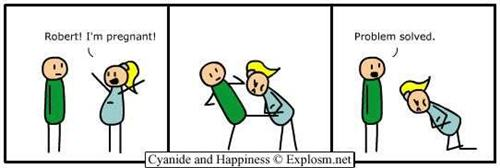 Cyanide and Happiness comic strips -pregnant joke