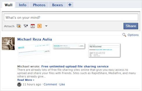 Post WordPress to Facebook with images to the wall