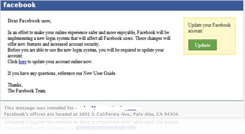 Facebook scam in email to update