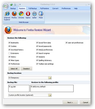 Restore Firefox Profile from backup file
