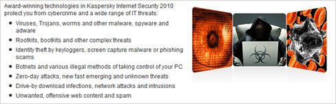 Kaspersky Internet Security 2010 protect from threats