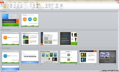 Microsoft PowerPoint 2010 Beta Slide Sorter Screenshots