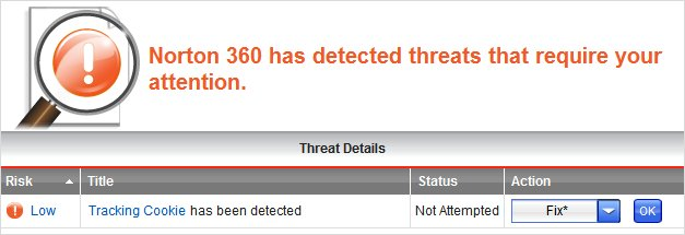Norton 360 Detecting threat - cookie