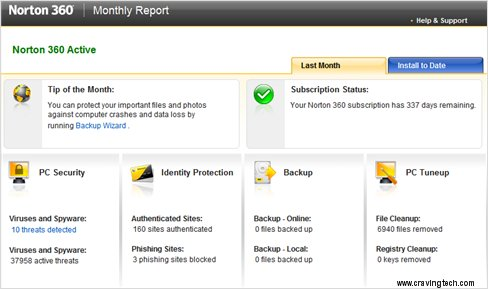 Norton 360 Monthly Report