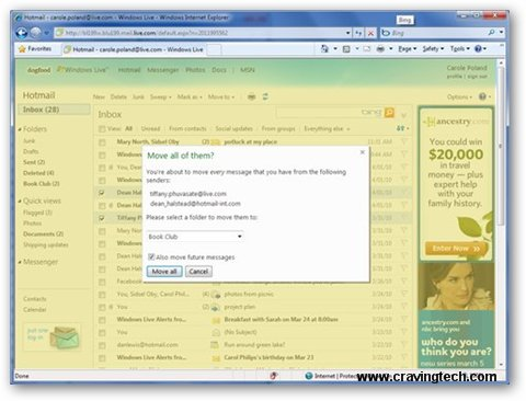 Windows Live Hotmail Clean up