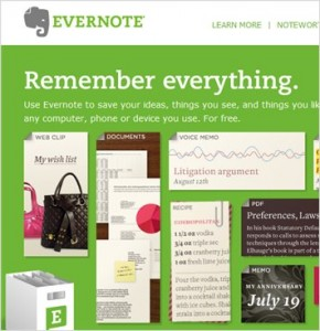 Evernote now supports Twitter, Facebook and more!