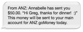 ANZ goMoney mobile payment
