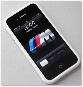 Apple White Bumper on iPhone 4 black