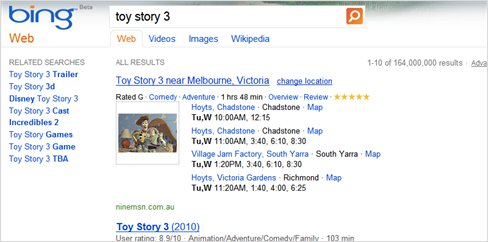 Bing search movie session times