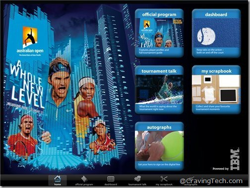 Australian Open 2011 iPad app - Home