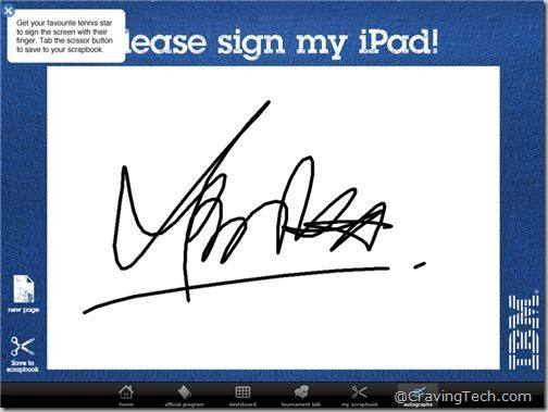 Australian Open 2011 iPad app - signatures