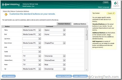 Logitech Harmony software - assign buttons manually