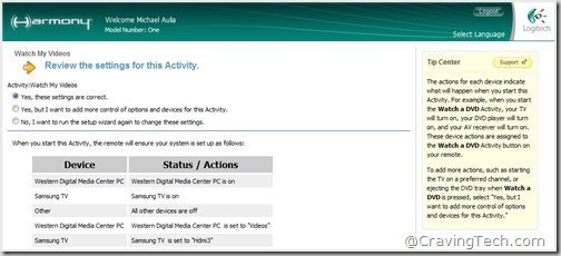 Logitech Harmony software - settings