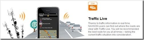 NAVIGON traffic live