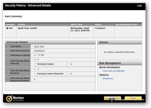 Norton 360 v5 Review - Scanning result