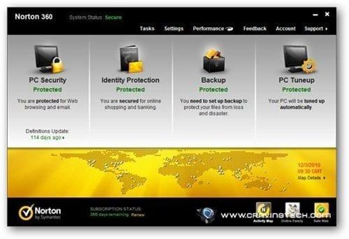 Norton 360 v5 Review -  main screen