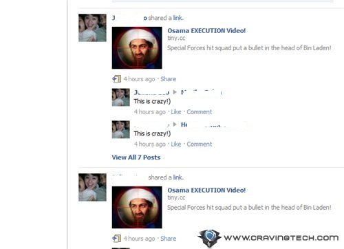 Osama Execution Video spam on Facebook