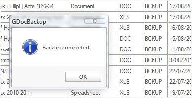 GDocBackup backup complete