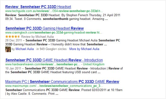 hreview on Google SERPs
