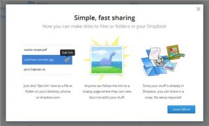 Dropbox share link to a file or folder now possible!