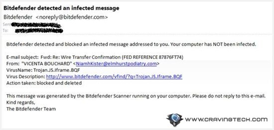 BitDefender email in virus