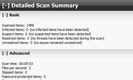 BitDefender Quick scan result