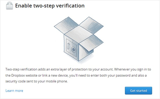 Enable Dropbox two step
