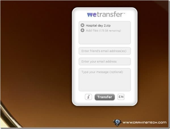 We Transfer Add files
