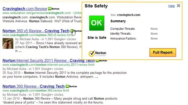 Norton 360 protects Google results