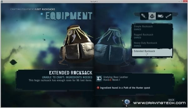 Crafting backpack