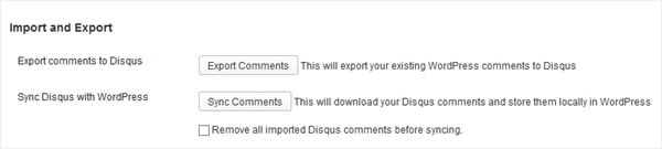 DISQUS Import and Export