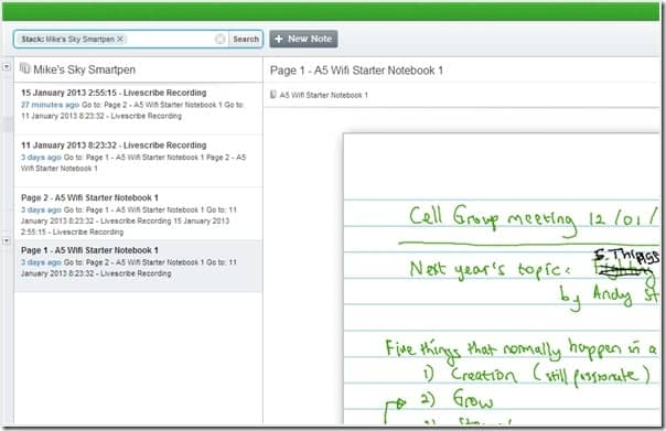 Note on evernote