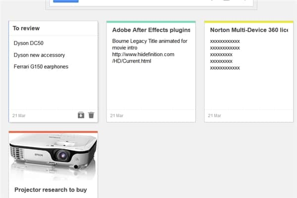 Google Keep Grid view