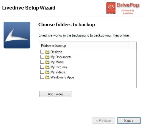 DrivePop Add folders to backup