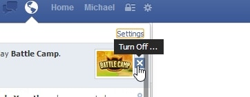 Facebook -Cross button