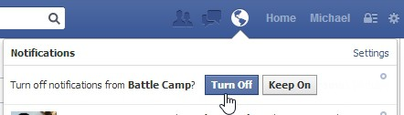 Facebook -turn off notification