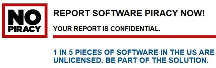 Report software piracy